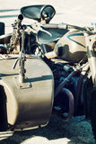 Machine gun mounted on the veteran sidecar, retro scene Royalty Free Stock Photos