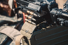 Machine gun with optical sight Royalty Free Stock Images