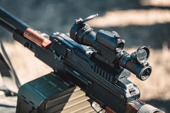 Machine gun with optical sight Royalty Free Stock Photos