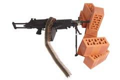 Machine gun on position. Isolated on white Royalty Free Stock Photo