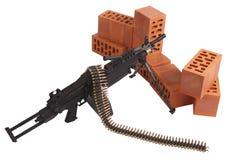 Machine gun on position. Isolated on white Stock Photo