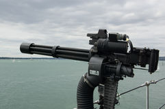 Machine gun on ship Stock Photography