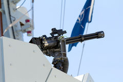Machine gun on a ship Royalty Free Stock Photography