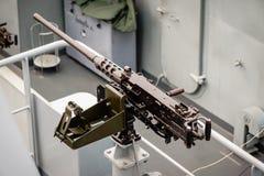 a machine gun ship on board Royalty Free Stock Photos