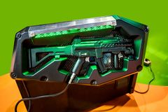Machine gun for shooting game at the mall. Machine gun for shooting game at the shopping mall royalty free stock image