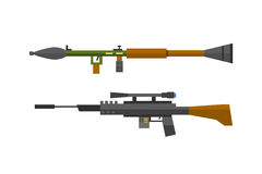 Machine gun sniper rifle vector set. Royalty Free Stock Photography