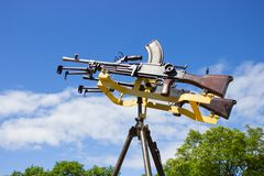 Machine gun on a stand against the sky Stock Image