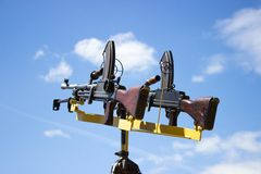Machine gun on a stand against the sky Royalty Free Stock Photography