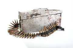 Machine-gun tape with cartridges Second World War Royalty Free Stock Photography