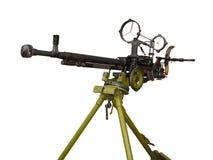 Machine gun on the tripod and optical sight Stock Photo