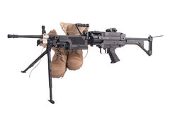 Machine gun and us army combat boots Stock Images