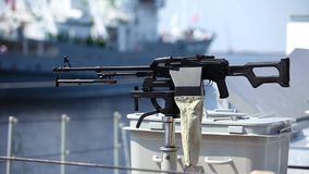 Machine gun on warship Stock Photos