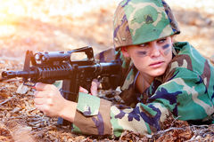 Machine Gun Woman Royalty Free Stock Photos