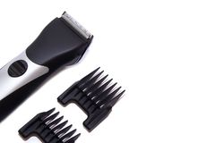The machine for a hairstyle. Barbershop. Hair clippers isolated on white background. The machine for a hairstyle. Hair clippers isolated on white background royalty free stock images