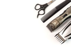 The machine for a hairstyle and hair trimmer. Hair clippers and. Hair trimmer on white background royalty free stock photo