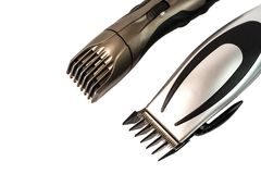 The machine for a hairstyle and hair trimmer. Hair clippers and. Hair trimmer isolated on white background stock image