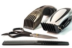 The machine for a hairstyle and hair trimmer. Hair clippers and. Hair trimmer isolated on white background royalty free stock photos
