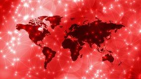 Machine het leren netwerk bots, wereldkaart en verbonden lijnen met cirkels royalty-vrije stock afbeelding