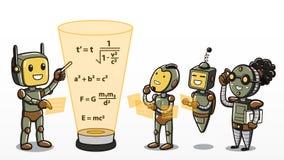 Machine het leren - Robots die wiskundevergelijkingen leren vector illustratie