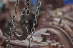 Machine hook and chain Royalty Free Stock Images