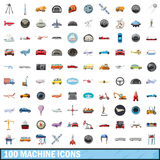 100 machine icons set, cartoon style. 100 machine icons set in cartoon style for any design vector illustration Royalty Free Stock Image