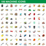 100 machine icons set, cartoon style. 100 machine icons set in cartoon style for any design vector illustration Royalty Free Stock Photography