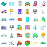Machine icons set, cartoon style. Machine icons set. Cartoon set of 36 machine vector icons for web isolated on white background Stock Photography