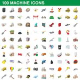 100 machine icons set, cartoon style. 100 machine icons set in cartoon style for any design illustration stock illustration