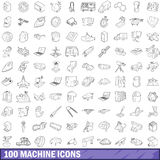 100 machine icons set, outline style Stock Photo