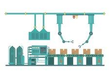 Machine industrielle d'usine et technologie transformatrice i de fabrication illustration de vecteur