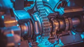 Machine industrielle de convoyeur à chaînes d'acier inoxydable image libre de droits