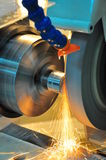 Machine of industry. This photo about machine industry, is called cylindrical grinding Royalty Free Stock Photography