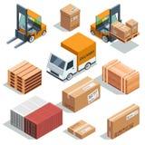 Machine isométrique d'industrie pour le chargement, le fret et les différentes boîtes et palettes Illustrations logistiques illustration stock