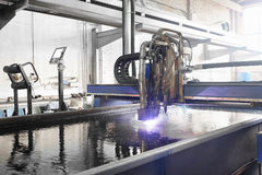 Machine for the laser cutting metal in water Stock Photography