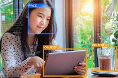 Machine Learning analytics identify person and object technology. Artificial intelligence concept. Software UI analytics and recognition people and object royalty free stock photos