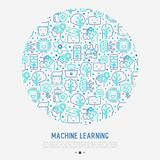 Machine learning, artificial intelligence concept. Machine learning and artificial intelligence concept in circle with thin line icons. Vector illustration for Stock Photo