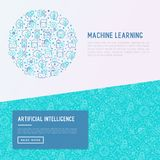 Machine learning, artificial intelligence concept. Machine learning and artificial intelligence concept in circle with thin line icons. Vector illustration for Stock Photos