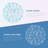 Machine learning, artificial intelligence concept. Machine learning and artificial intelligence concept in circle with thin line icons. Vector illustration for Royalty Free Stock Image