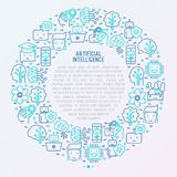 Machine learning, artificial intelligence concept. Machine learning and artificial intelligence concept in circle with thin line icons. Vector illustration for Stock Photography