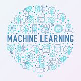 Machine learning, artificial intelligence concept. Machine learning and artificial intelligence concept in circle with thin line icons. Vector illustration for Royalty Free Stock Photography