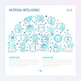 Machine learning, artificial intelligence concept. Machine learning and artificial intelligence concept in half circle with thin line icons. Vector illustration Stock Photography