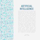 Machine learning, artificial intelligence concept. Machine learning and artificial intelligence concept with thin line icons. Vector illustration for banner, web Stock Photo