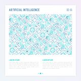 Machine learning, artificial intelligence concept. Machine learning and artificial intelligence concept with thin line icons. Vector illustration for banner, web Royalty Free Stock Image