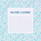 Machine learning, artificial intelligence concept. Machine learning and artificial intelligence concept with thin line icons. Vector illustration for banner, web Stock Images