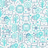 Machine learning, artificial intelligence seamless pattern. Machine learning and artificial intelligence seamless pattern with thin line icons. Vector Royalty Free Stock Image