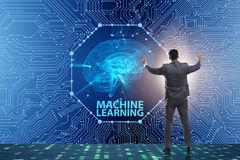 The machine learning concept as modern technology stock images
