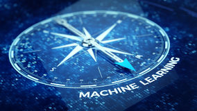 Machine learning concept - Compass needle pointing Machine learning word Stock Images