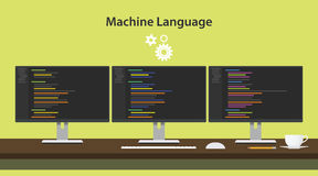 Machine learning concept vector illustration with three monitors on top of table Stock Photo