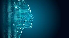 Machine learning future AI tech, human fast digital computing, robot revolution
