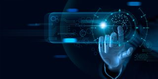 Machine learning. Hand of robot touching on binary data. Futuristic Artificial intelligence AI. Deep Learning.